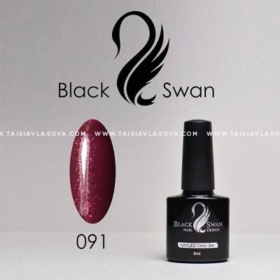 Бордовый гель-лак с блестками Black Swan 091