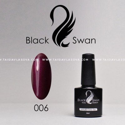 Бордовый гель-лак с шиммером Black Swan 006