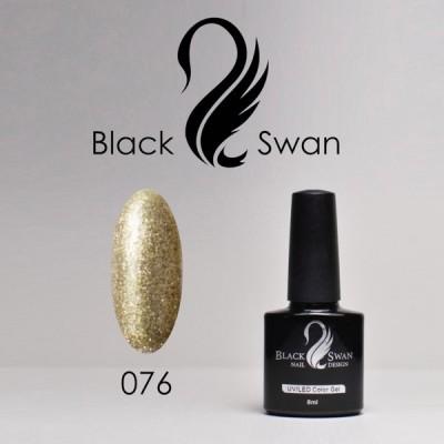 Золотой гель-лак с блестками Black Swan 076