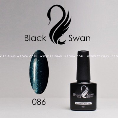 Купить темный гель-лак с шиммером Black Swan 086