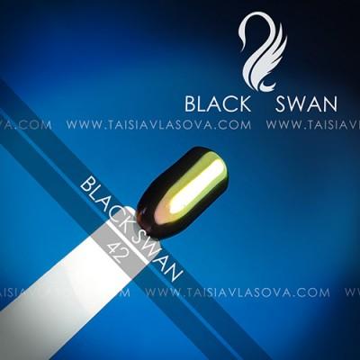 Пигмент хамелеон для дизайна ногтей - цветная зеркальная втирка Black Swan 42