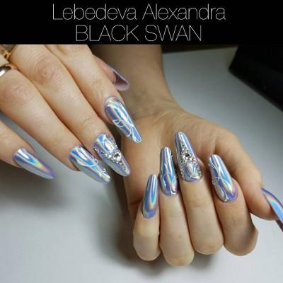 """Втирка """"Призма"""" для дизайна ногтей - зеркальный пигмент """"Северное сияние"""" Black Swan 15"""