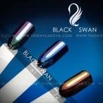 Втирка для дизайна ногтей - Цвета зеркальных пигментов Black Swan 21 61 72