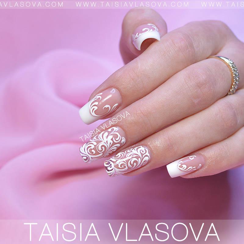 фото дизайн ногтей белый френч с рисунком