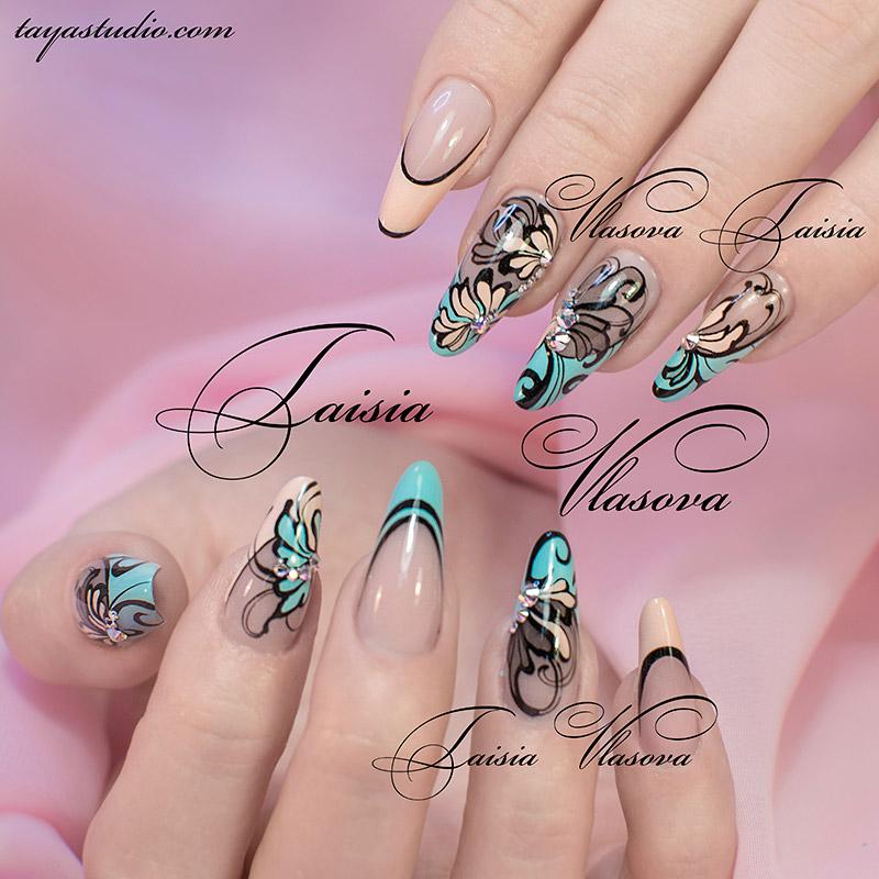дизайн ногтей френч цветной 3