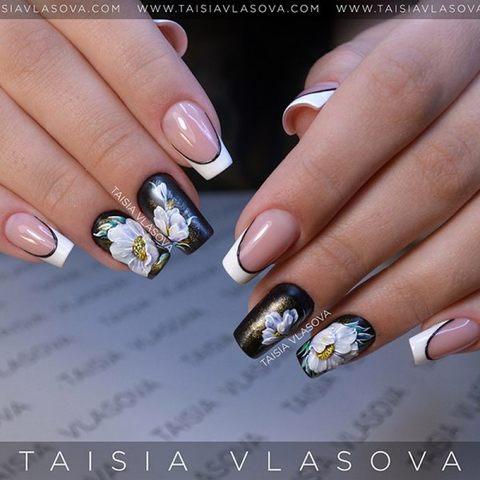Дизайн ногтей белый френч с цветами - роспись гель-лаками, лепка пластилайном