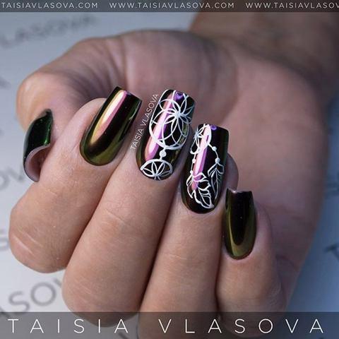 Дизайн ногтей ловец снов с зеркальной втиркой