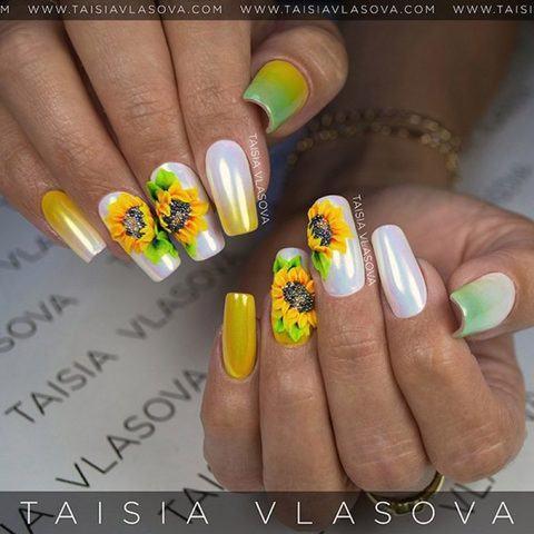 Летний дизайн ногтей с подсолнухами