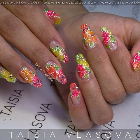 Яркий мармеладный дизайн ногтей с разноцветными цветами - летний маникюр на нарощенных ногтях 2017