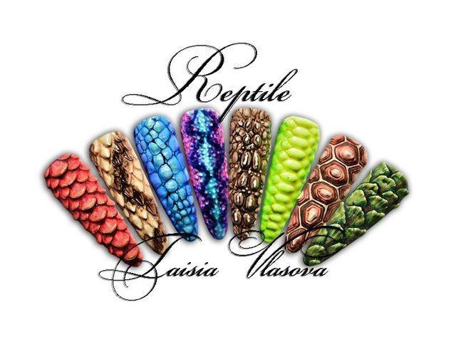 Курс барельефного дизайна гелем - Рептилия на ногтях