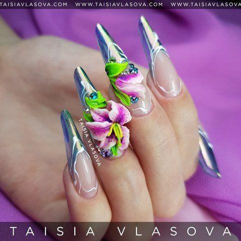 Объемные лилии на ногтях