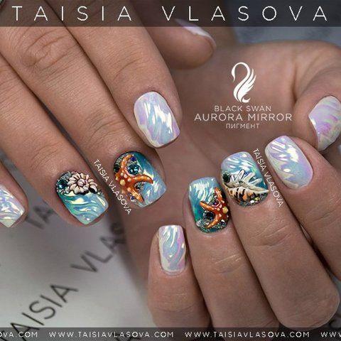 Маникюр в отпуск: дизайн ногтей с морскими звездами и ракушками