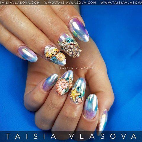 Морской дизайн ногтей с черепахой, ракушками и звездами