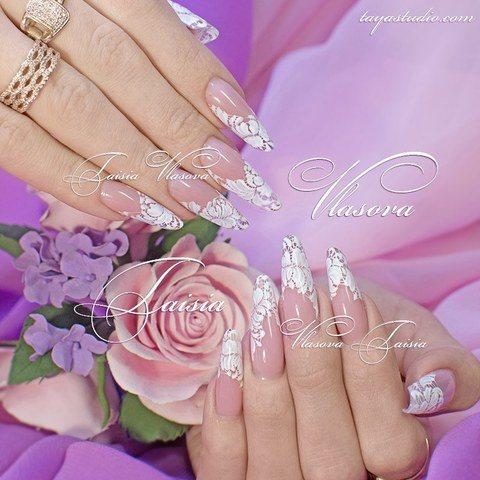 Нежный дизайн ногтей с кружевом