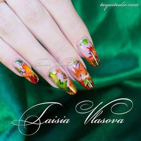 Дизайн ногтей осень - идея осеннего маникюра с рисунком - белка на ногтях