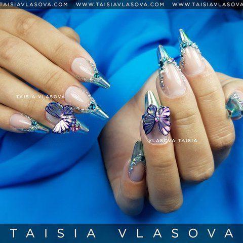 Шикарный дизайн ногтей с бабочками