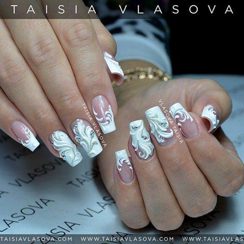 Белый свадебный дизайн ногтей с 3d украшением