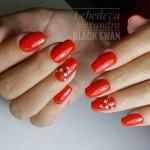 Яркий алый (красный) гель-лак на ногтях - Black Swan 008 купить