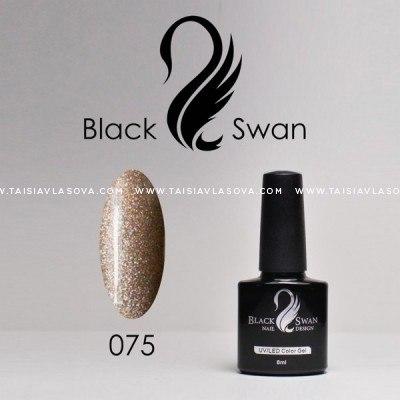 Бежевый гель-лак с голографическим шиммером - Black Swan 075