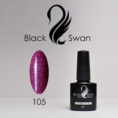 Пурпурный гель-лак с голографическими блестками Black Swan 105