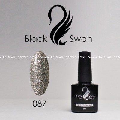 Серебристый гель-лак с блестками Black Swan 087