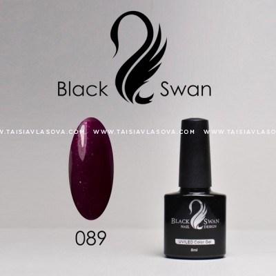 Темный пурпурный гель-лак с шиммером Black Swan 089