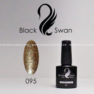 Золотой гель-лак с голографическими блестками Black Swan 095
