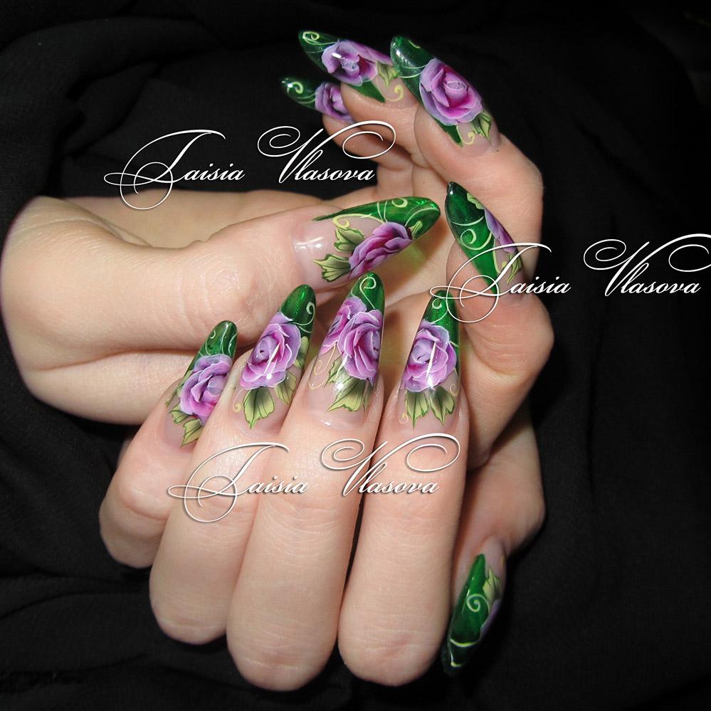 Дизайн ногтей роспись красками цветы