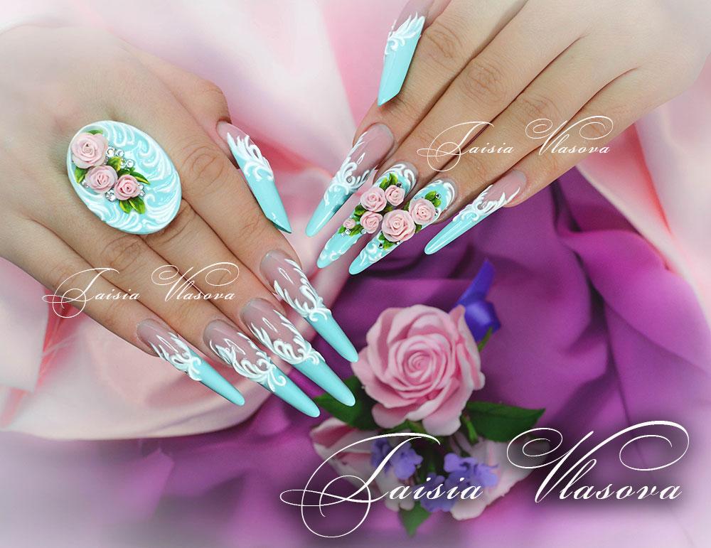 Дизайн ногтей лепка акрилом фото