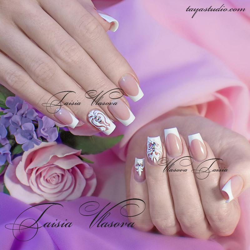 Фото ногти квадратной формы белый френч