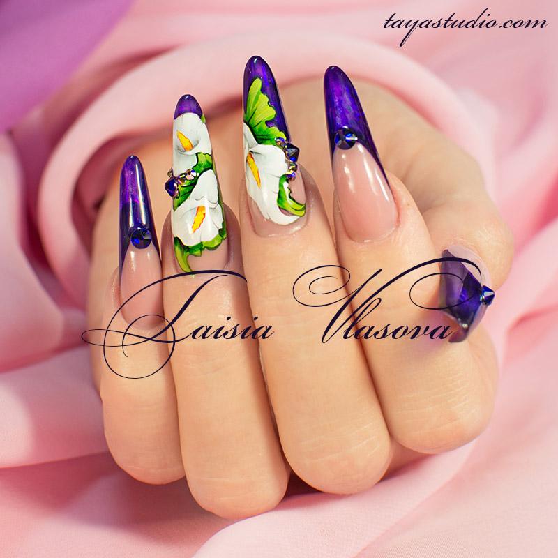 Росписью цветами на ногтях фото 19
