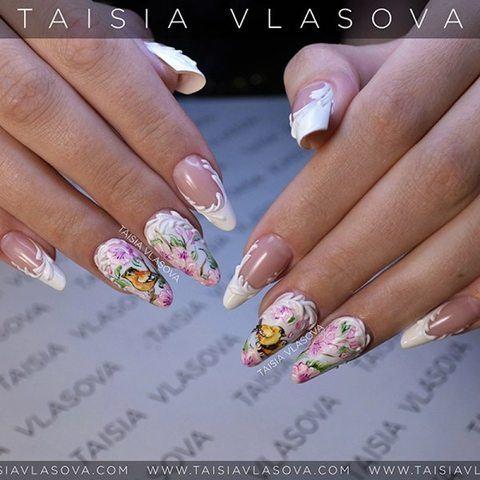 Дизайн ногтей с птицами и цветами