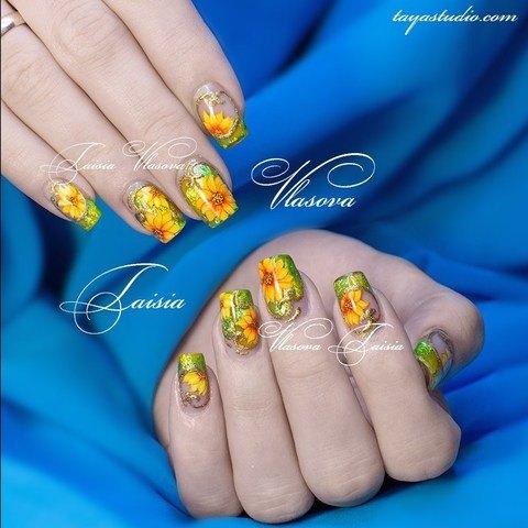 Весенний дизайн коротких квадратных ногтей с цветами - маникюр с весенним рисунком