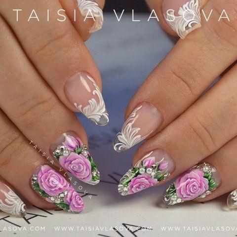 Свадебный дизайн ногтей с розами